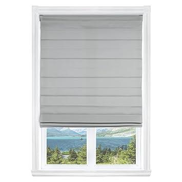 Amazoncom Calyx Interiors Light Filtering Grey Cordless Fabric