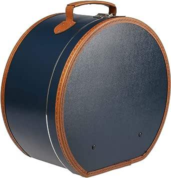 Lierys Sombrerera Redonda Colores Diferentes - Aprox. 40 cm x 21 cm - Caja para Sombrero Grande de Piel sintética - con asa y Cierre - Caja para Sombrero - También como decoración para el Piso
