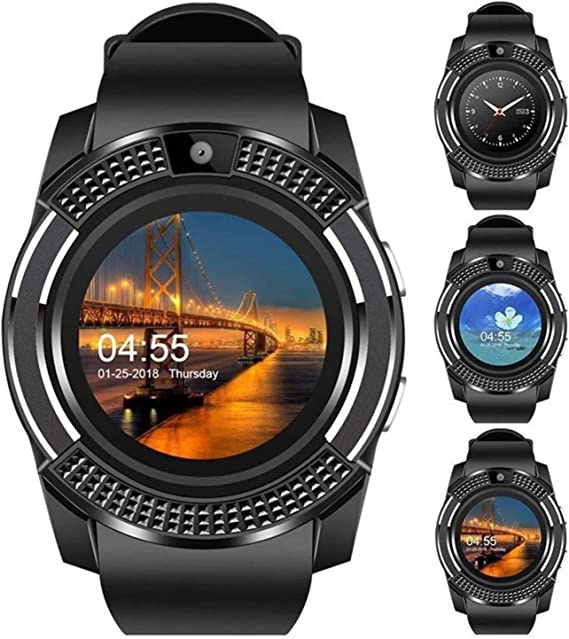 V8 Smart Watch,Bluetooth Smartwatch Touch Screen Wrist Watch with Camera/SIM Card Slot,Waterproof Android Smart Watch Sports Fitness Tracker Phone ...