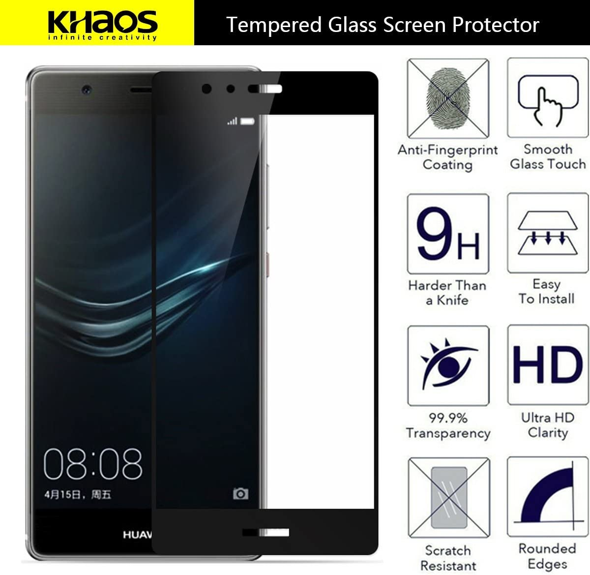 Full Cover Anti-Fingerprint -KHAOS for Huawei P9 Plus Black Bubble Free,Lifetime Replacement Warranty Tempered Glass Screen Protector, 4-Pack