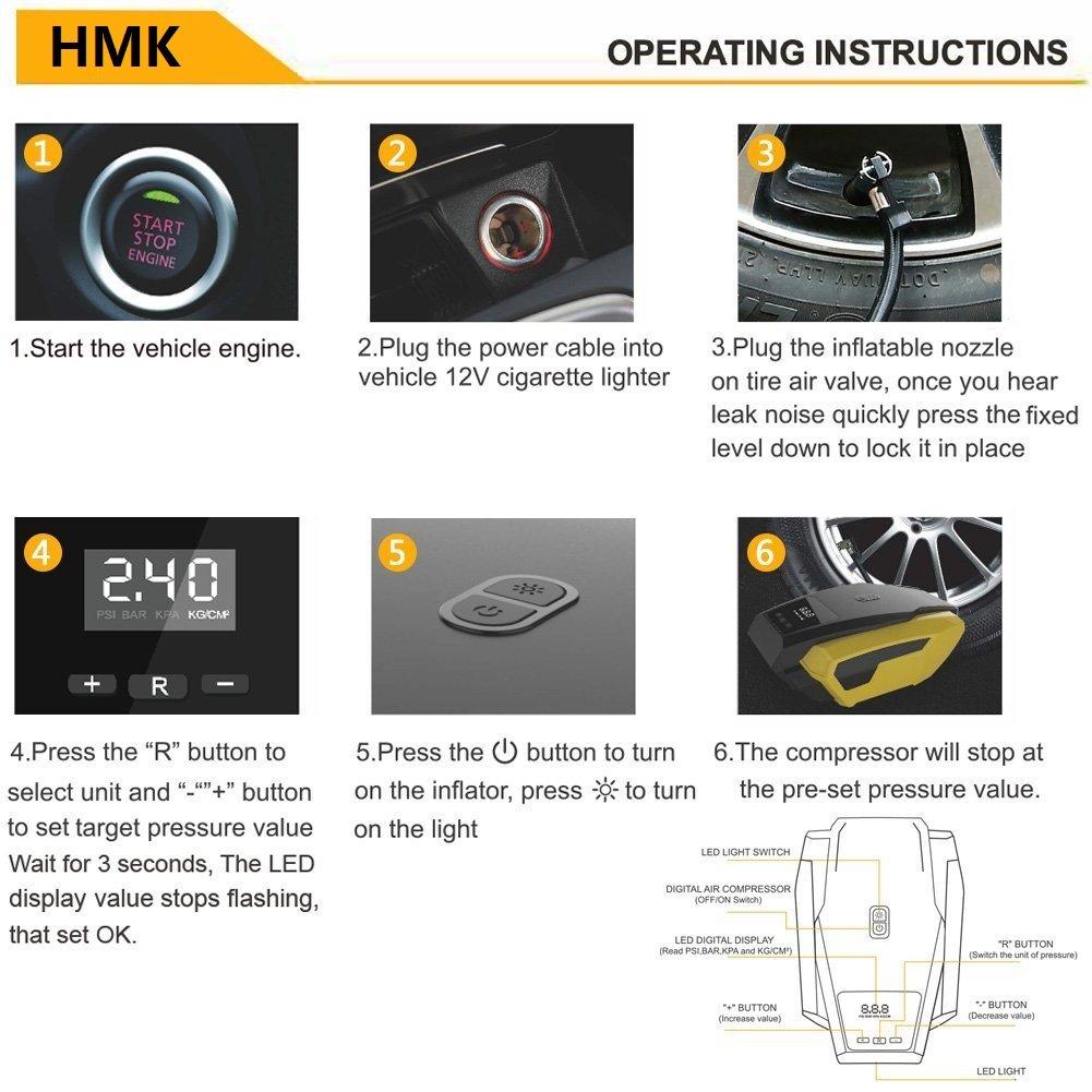 Bomba de Compresor de aire neumático, Medidor de presión de neumáticos portátil para coche de HMK. Con valor fijo y parada automática con LED de 12 V DC 150 ...