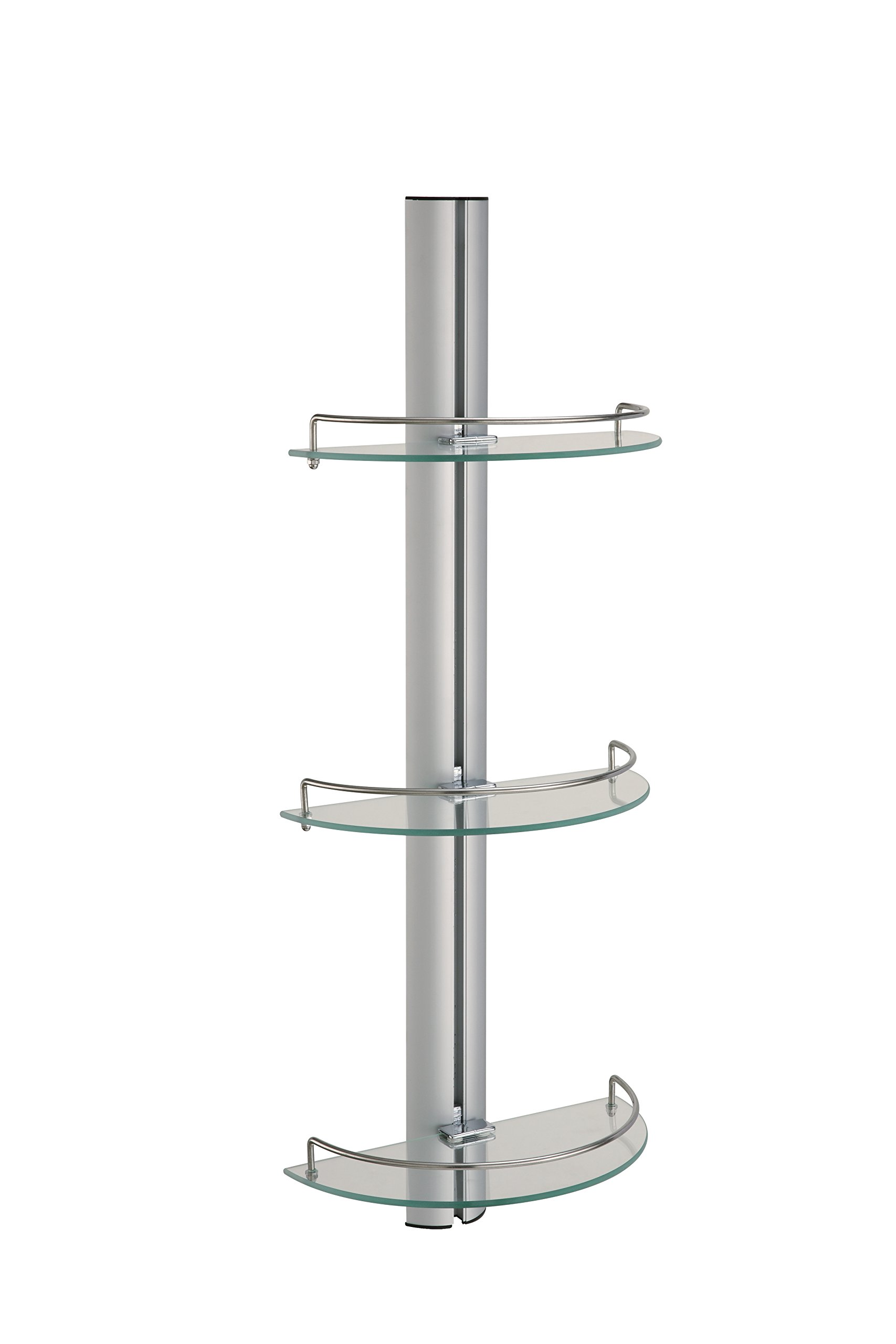 Organize It All Mounted 3 Tier Half Moon Bathroom Glass with Stainless Steel Rail Shelf