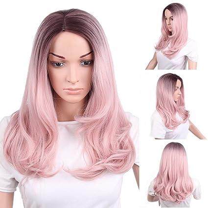 Little cutie Señora peluca, rosa de largo cabello rizado, señoras peluca.
