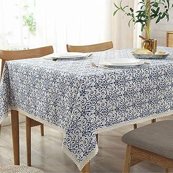 Table cover tablecloth wood grain cotton linen fabric Vintage kitchen Multisize