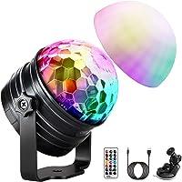 LED Discokugel (Upgrade) OMERIL Discolicht Musikgesteuert Disco Lichteffekte RGB Partylicht, Zeitgesteuertes USB Stimmungslicht mit 7 Farben, 4 Helligkeiten und Fernbedienung für Kinder, Zimmer, Party