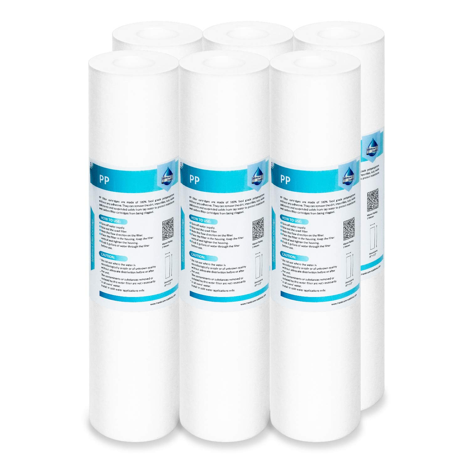 "Membrane Solutions 20 Micron Sediment Water Filter Replacement Polypropylene Cartridge 10""x 2.5"" for Whole House RO System, Compatible with Aqua-Pure AP110, GE FXUSC,WHKF-GD05,Culligan P5-6 Pack"