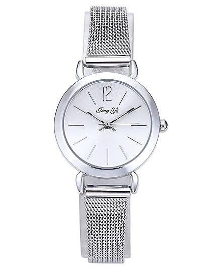 jsdde Grabado - Personalized Personalizados Mujer Reloj De Pulsera Fácil Plata Malla Metal Pulsera Analógico De Cuarzo Reloj: Amazon.es: Relojes