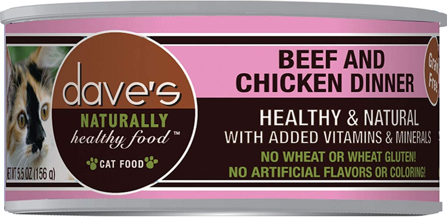 Dave'S Naturally Healthy Grainfree Canned Cat Food Beef & Chicken Dinner Formula 3Oz, Pack Of 24