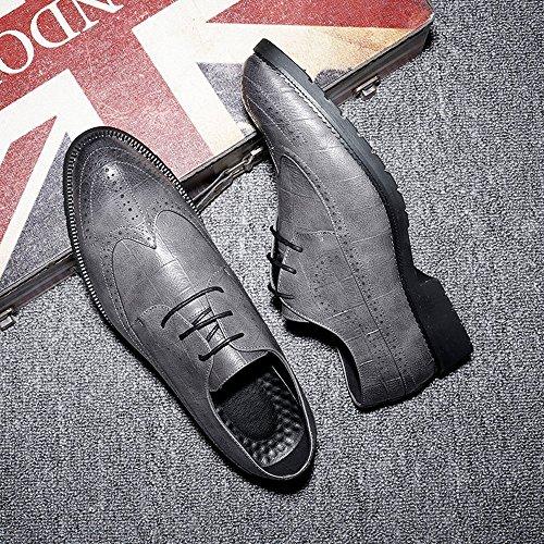 da Fang Color shoes in Primavera pelle classiche 46 Scarpe PU brogue Grigio Grigio 2018 EU Estate uomo Dimensione rvpwqr7