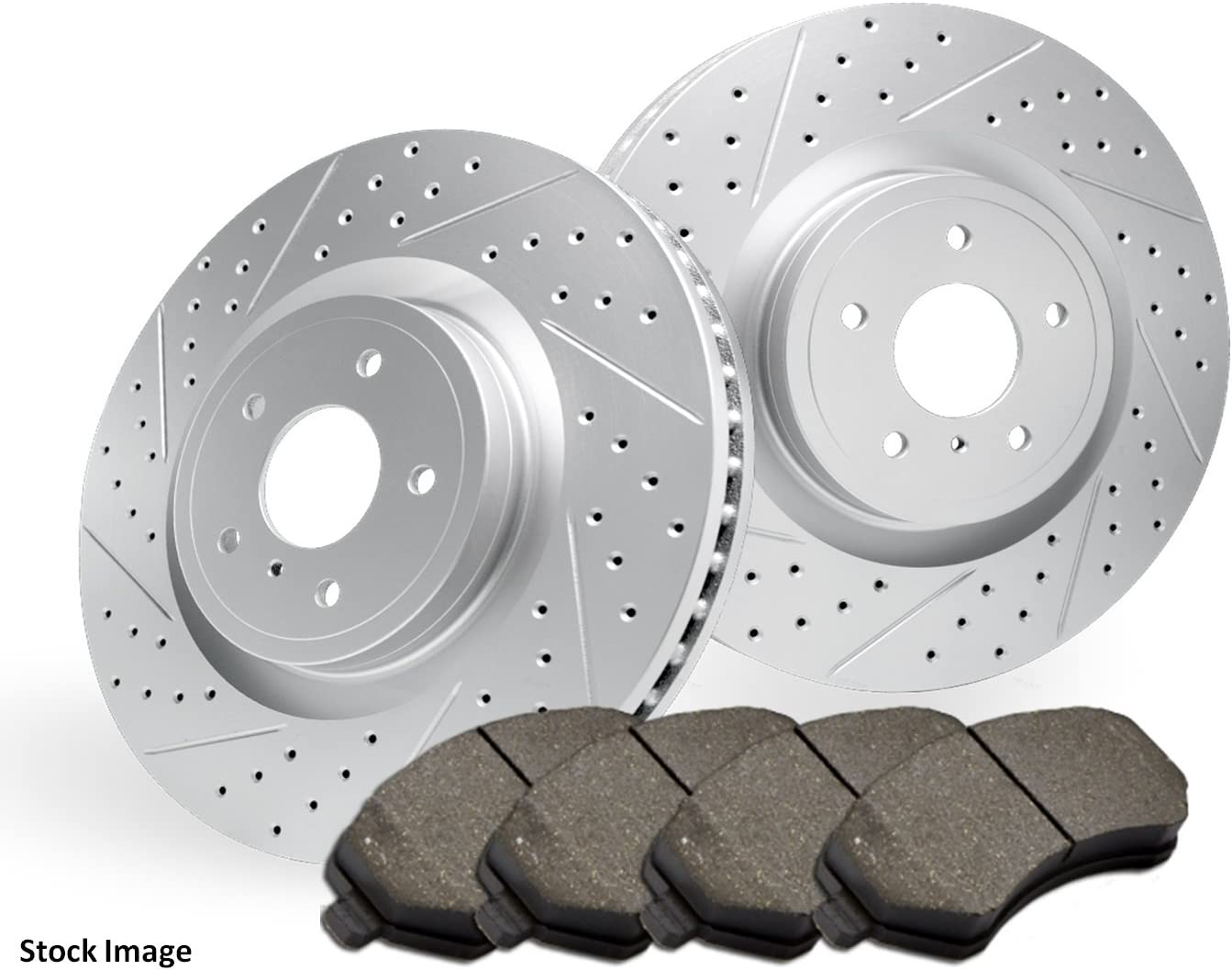 Stirling 2010 For Audi S5 Rear Cross Drilled Slotted and Anti Rust Coated Disc Brake Rotors and Ceramic Brake Pads