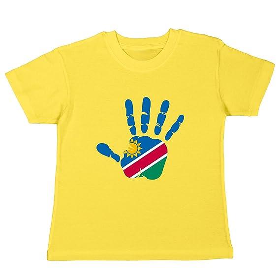 Pinkelephant Kinder T Shirt Namibia Fahne Hand Abdruck Palm Print