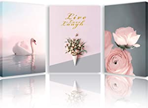 Canvas Wall Art - Size 16'' x 12'' - Set of 3 panels - Paintings for Living Room - Pink and Grey Decor for Bedroom - Christmas Decoration for Man and Women - Picture with Swan and Roses