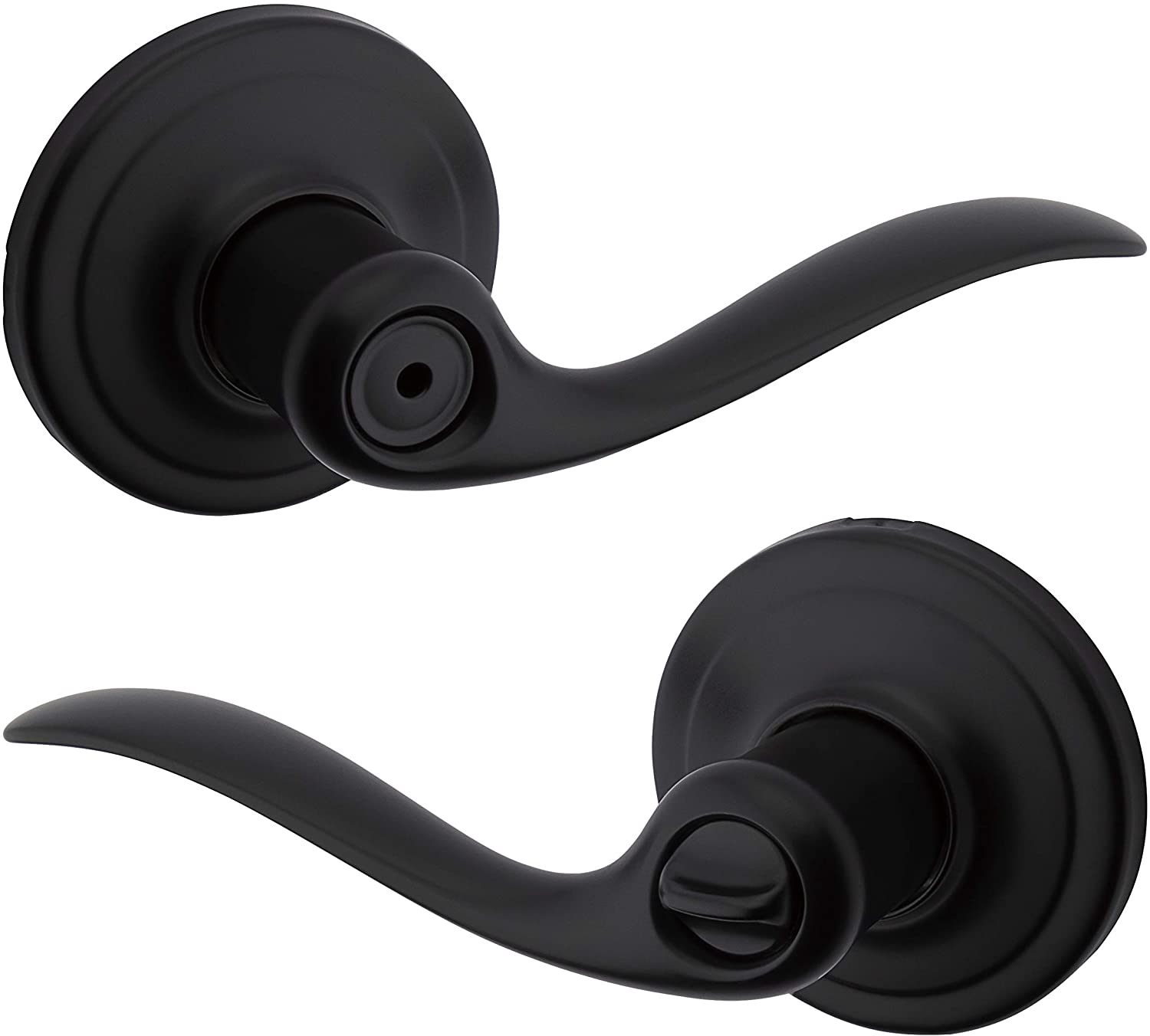 Kwikset 97300-860 Tustin Door Handle Lever with Traditional Wave Design for Home Bedroom or Bathroom Privacy in Iron Black