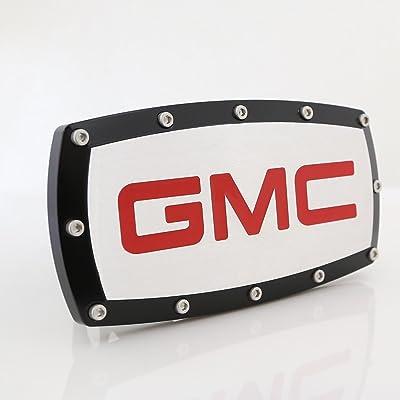 GMC in Red Black Trim Billet Aluminum Tow Hitch Cover: Automotive