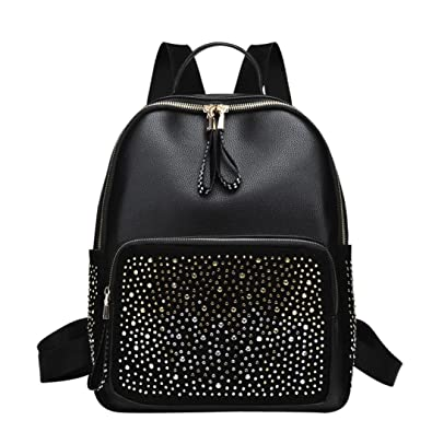 3e63e8e274 Women s Leather Backpack Rivet Decoration Travel Rucksack School Bag  Handbags Shoulder Bag Crossbody Travel Bags for