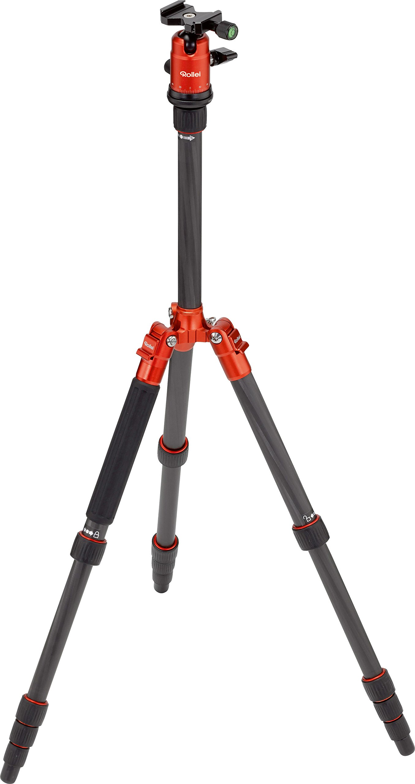 Rollei Compact Traveler No. 1 Carbon - Ultra-Lightweight Travel Tripod (2,16 lb incl. Ball Head) - Folded Length: 12,99'' - Arca Swiss compatible - Monopod Function - Carbon - Orange