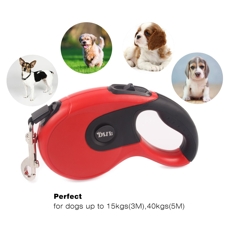 Minve Pet Correa para perro flexible retr/áctil instant/áneo extensible correa de plomo cuerda para correr para perro 5 m