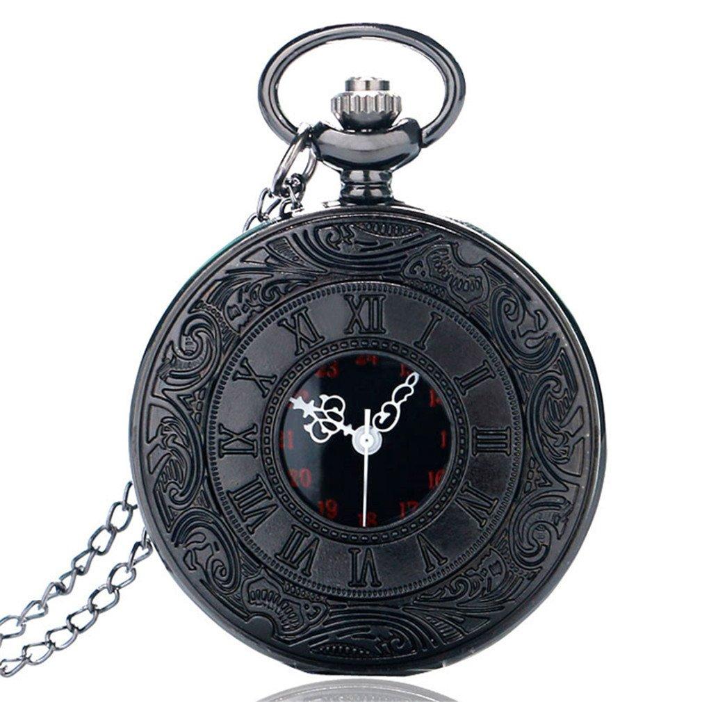 Antique Half Hunter Roman Numbers Quartz Pocket Watch Carving Engraved Clock Men Women