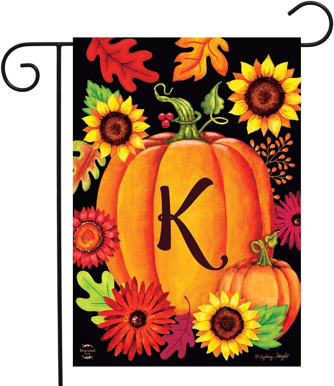 """Briarwood Lane Fall Pumpkin Monogram Letter K Garden Flag 12.5"""" x 18"""""""