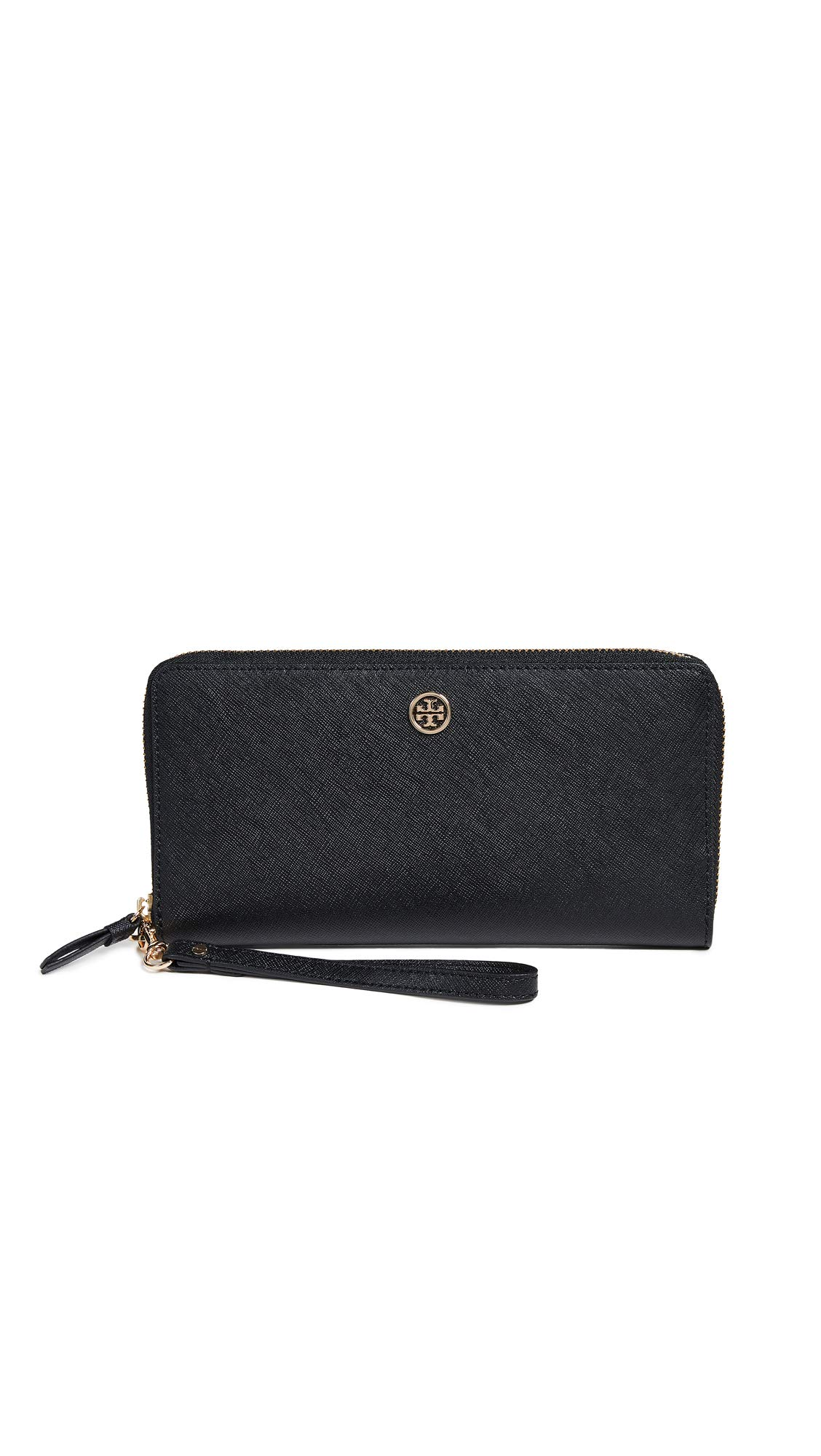 Tory Burch Women's Robinson Passport Continental Wallet, Black/Royal Navy, One Size by Tory Burch
