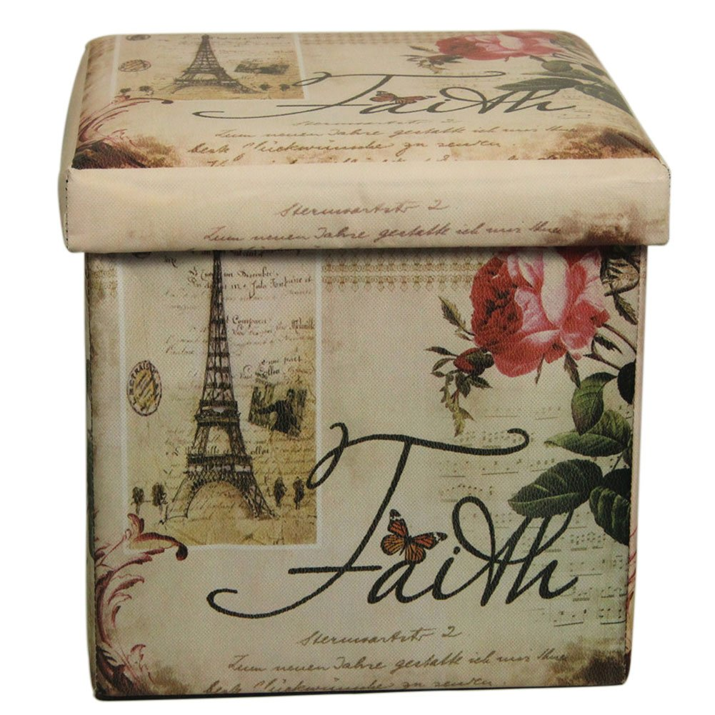 DinQ Vintage Classical Storage Ottoman, Storage Chest Suitable for Kids Room Living-Room Entryway Bedroom Coffee Room, ETC. (Paris & Roses)