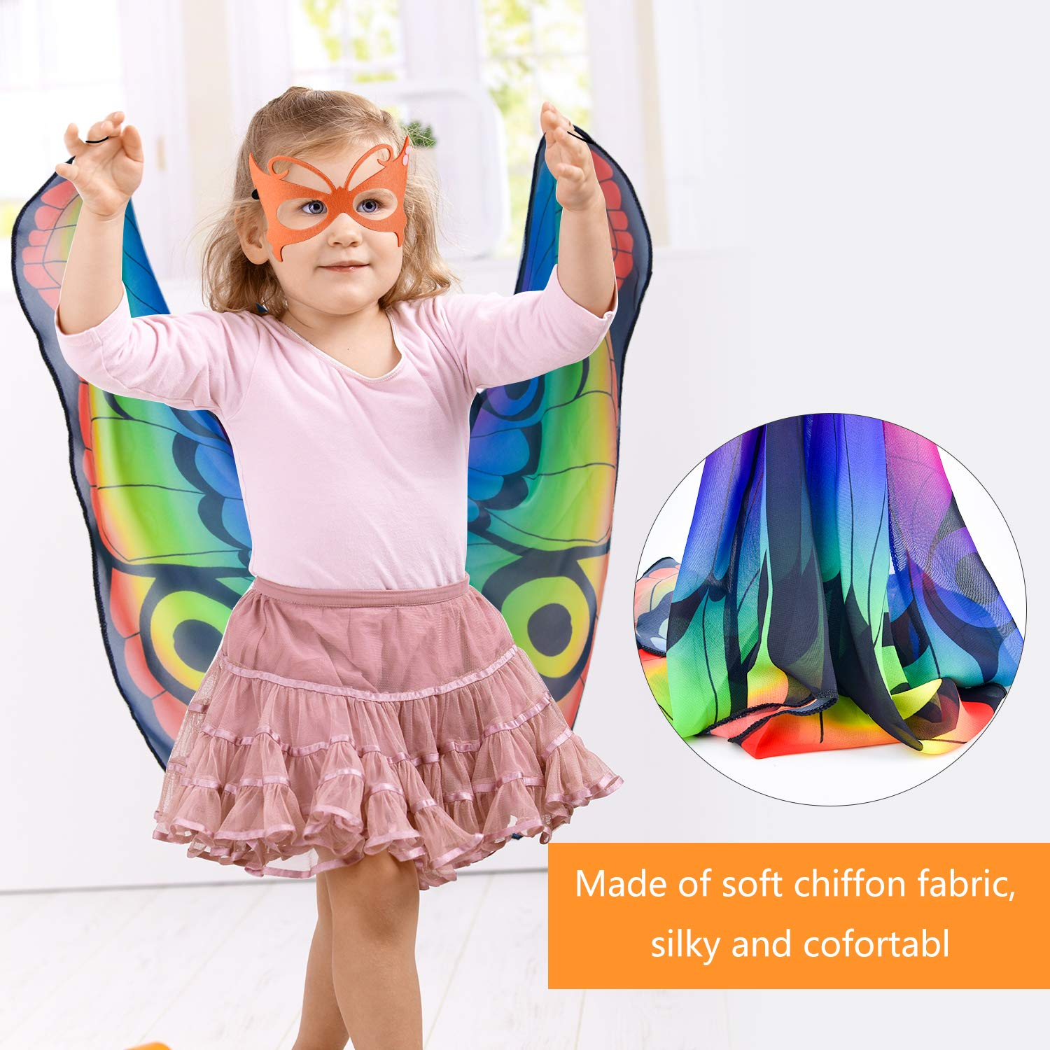 Coopay 9 Pieces Kids Butterfly Costume Fairy Butterfly Wings Masquerade Masks Halloween Girls Dress Up Pretend Play