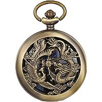 JewelryWe Reloj de bolsillo automático para hombre, clásico mecánico, diseño de dragón y fénix, con cadena