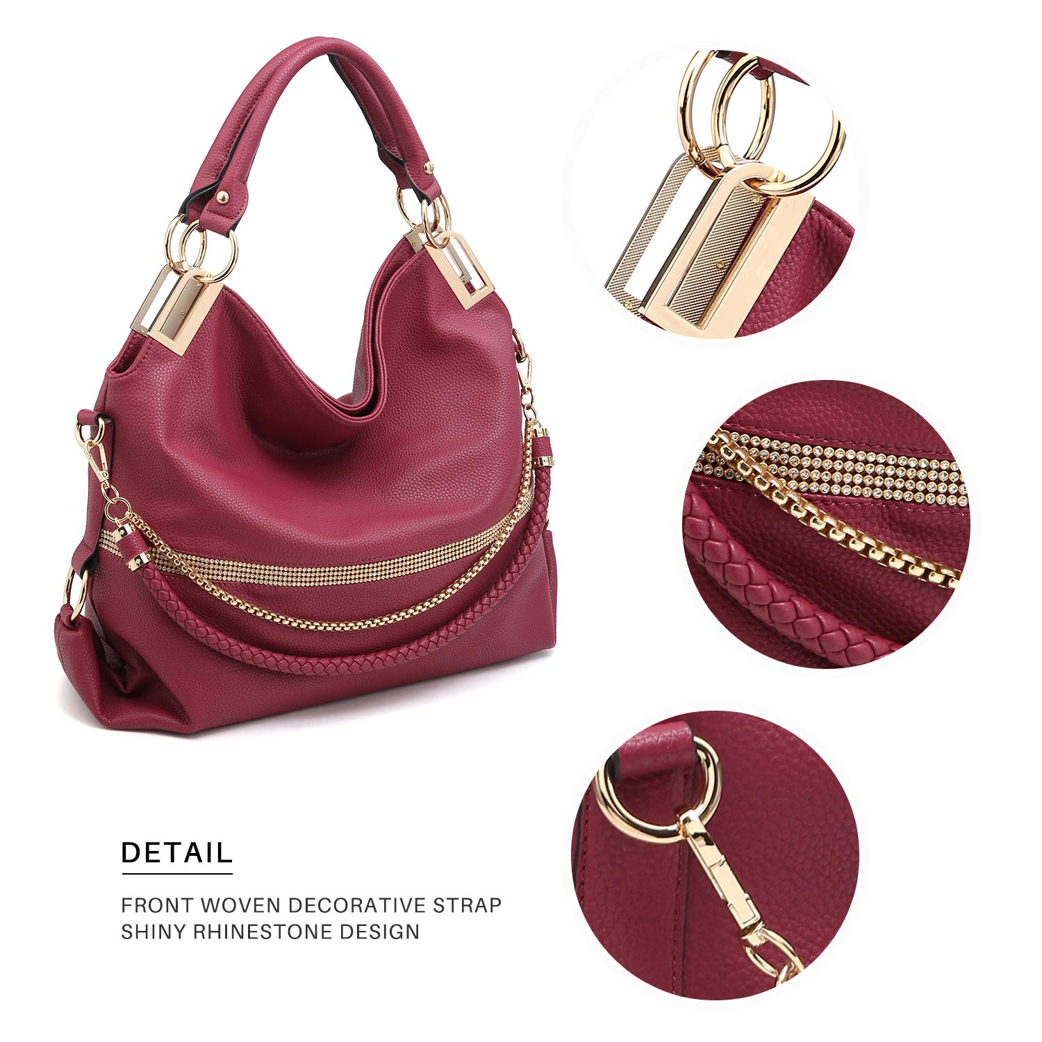0e8eaa1526e8 Dasein Women s Classic Large Hobo Bag Rhinestone Chain Shoulder Bag Top  Handle Purse KC-XL larger image