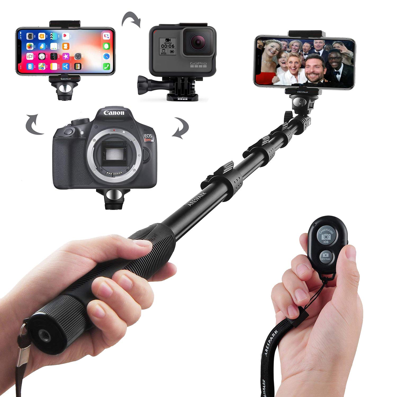 Selfie Stick, Arespark Wireless Extendable Selfie Monopod Portable Selfie Pole for Gopros, DSLR, Cameras & iPhoneX 8 7 Plus Android Samsung Galaxy S9 S8 Plus Cellphones with Bluetooth Remote Control, Extends to 50 Inches, Best Gifts selfie1