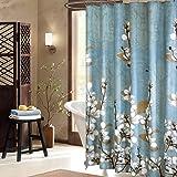 "Uphome Beautiful White Cherry Blossom Bathroom Shower Curtain - Blue Waterproof Polyester Fabric Decorative Bath Curtain Designs (72""W x 72""H)"