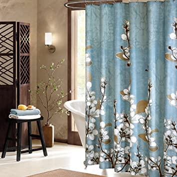 Uphome Beautiful White Cherry Blossom Bathroom Shower Curtain   Blue  Waterproof Polyester Fabric Decorative Bath Curtain