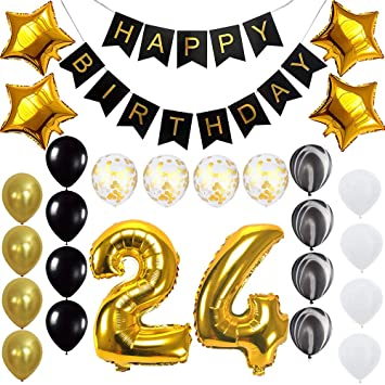 Image Unavailable Not Available For Color Happy 24th Birthday Banner Balloons