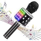 【最新改良版】Verkstar Bluetooth カラオケマイク ワイヤレスマイク 多彩LEDライト付き エコー機能搭載&伴奏機能 録音可能 Bluetoothで簡単に接続 無線マイク 音楽再生 家庭カラオケ ノイズキャンセリング Android/iPhoneに対応 (ブラック)