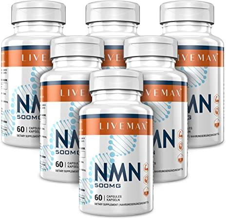 NMN Supplement 500mg- Enhance Concentration, Boost Energy, Improve Memory & Clarity for Men & Women - Your Best NAD Booster (6 Bottles)