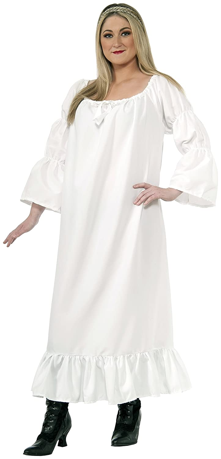 Women's White Plus Size Medieval Chemise - DeluxeAdultCostumes.com
