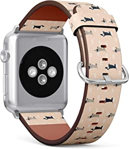 Compatible with Apple Watch (Small Version) 38 / 40mm Leather Wristband Bracelet with Stainless Steel Clasp and Adapters - Dachshund Dog Scandinavian