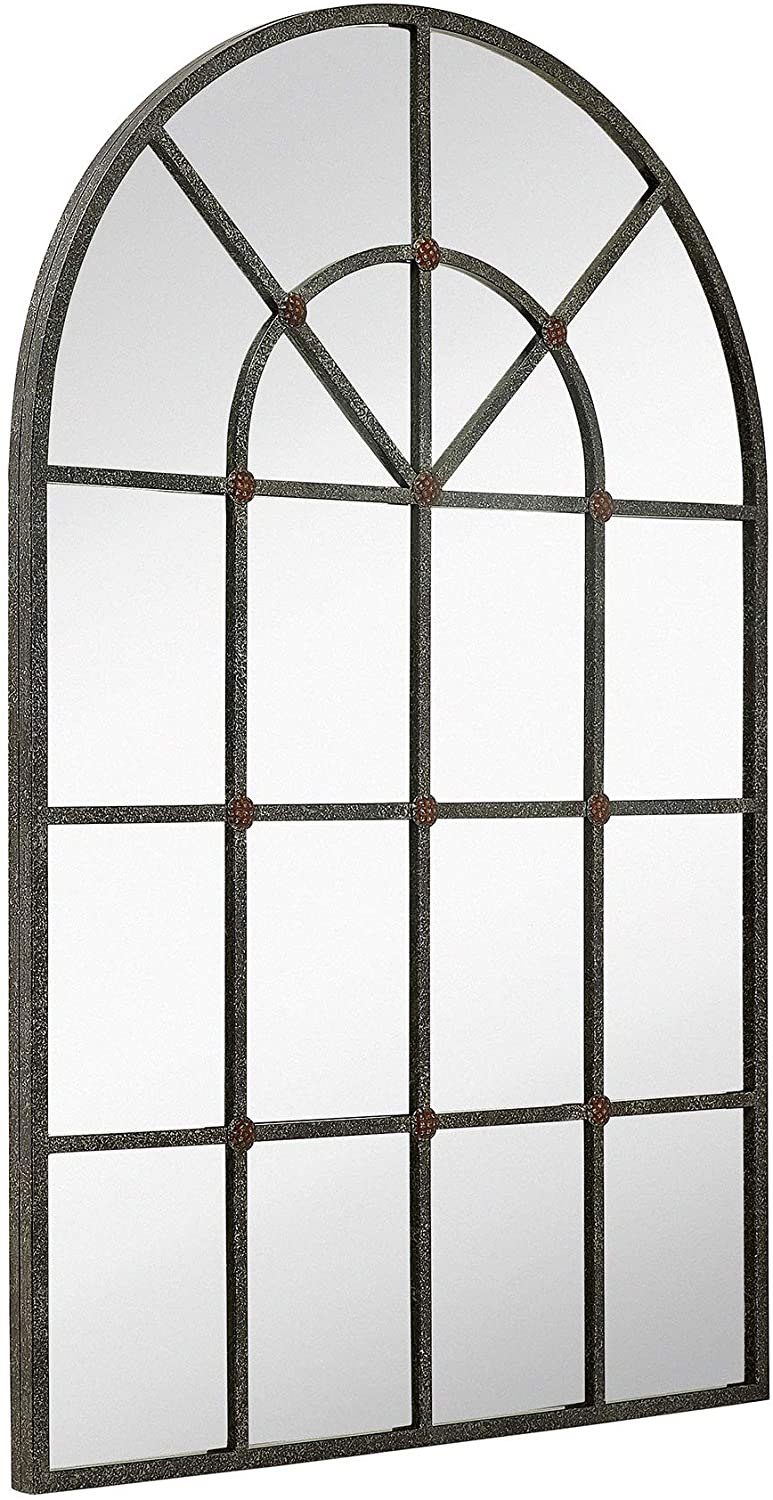 Hamilton Hills Metal Arched Window Mirror Large Wall Mirrors Decorative Piece and Arch Decor 28