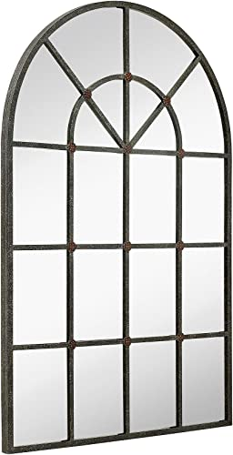 Hamilton Hills Metal Arched Window Mirror Large Wall Mirrors Decorative Piece and Arch Decor 28 x 42