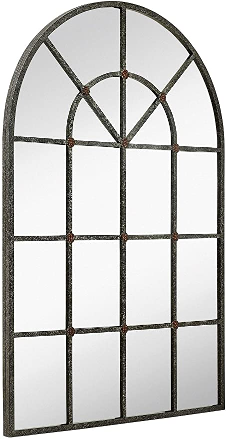 Amazon Com Hamilton Hills Metal Arched Window Mirror Large Wall Mirrors Decorative Piece And Arch Decor 28 X 42 Kitchen Dining