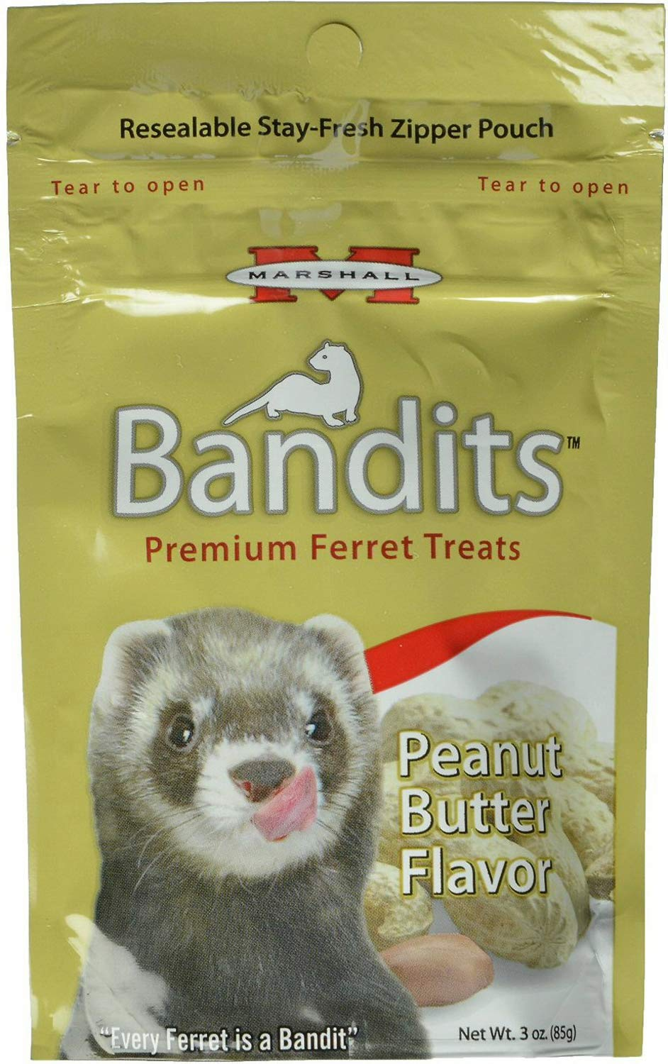 Marshall Bandits Ferret Treat Peanut Butter 1.875lbs (10 x 3oz) by Marshall