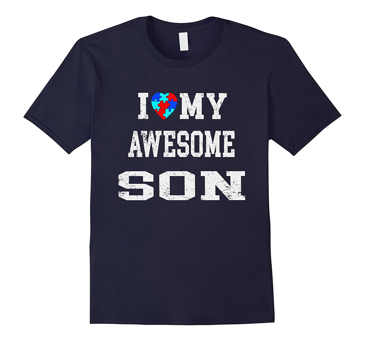 I love my au-some son autism awareness t shirt-CD