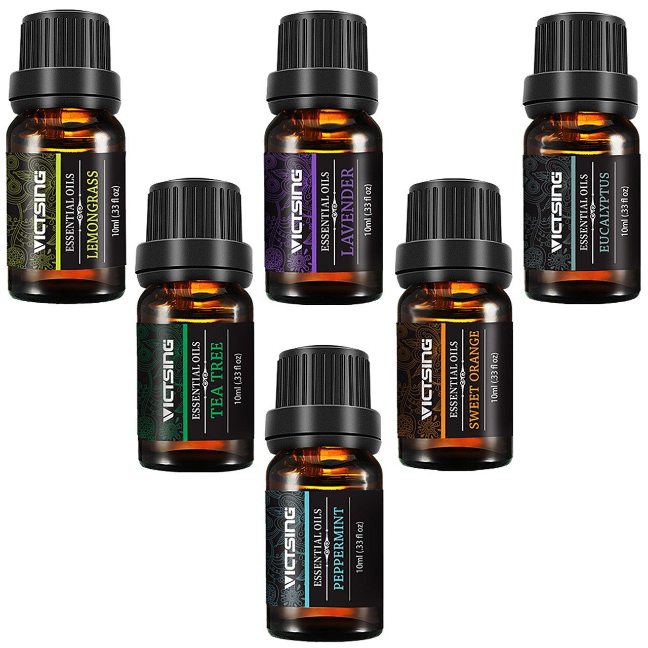 VicTsing Natural Essential Oils Set, Top 6 Pure Therapeutic Grade Upgraded Aromatherapy Essential Oil Gift Set(Lavender, Tea Tree, Peppermint, Eucalyptus, Lemongrass, Orange, 10ml/bottle)