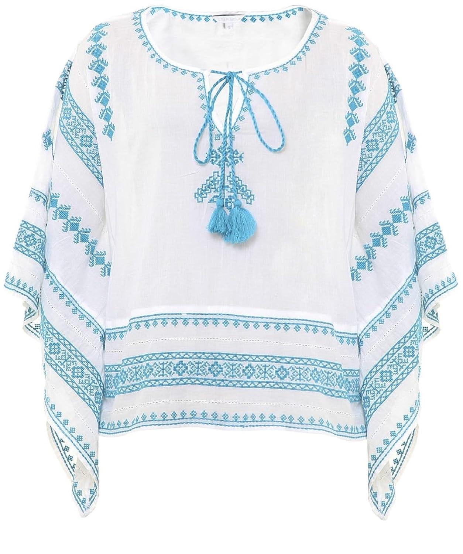 Star Mela Letti Embroidered Top White