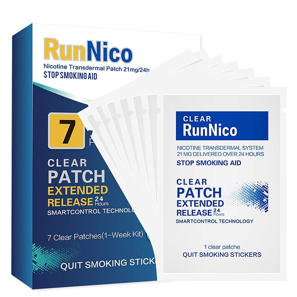 RunNico Nicotine Patches|Stop Smoking Aid | Nicotine Transdermal System Patch|Smoking Cessation Products-7 Clear Patches-21mg