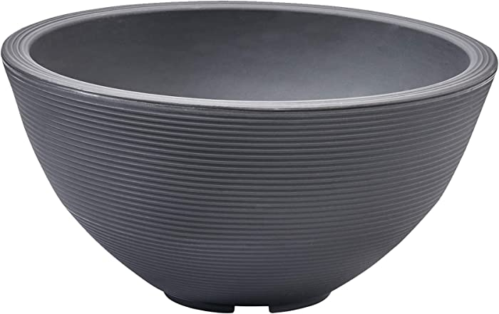 Crescent Garden Delano Planter, Double-Walled Plant Pot, 16-Inch (Slate)