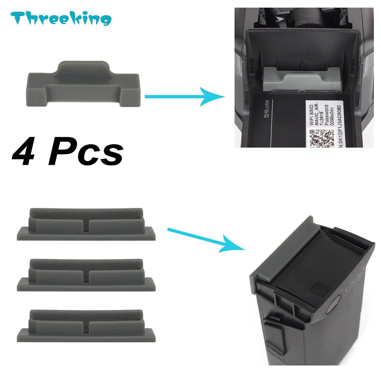 Threeking Mavic Air用ダストプラグ 防塵カバー 酸化防止 シリコン製 4pcsセット 「バッテリー端子の保護カバー3Pcs&ドローン端子の保護カバー1Pcs」 適用DJI Mavic Airドローン B07BQR41QR グレー