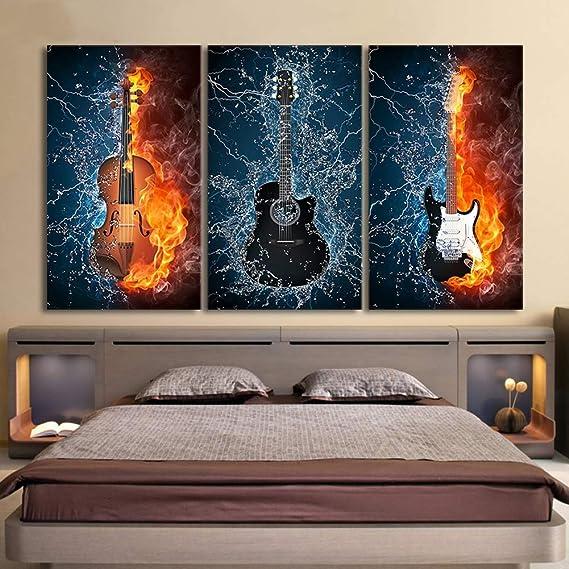 ZEMER 3 Piezas Cuadros en Lienzo Fuego Quema Guitarra Eléctrica Arte De Pared Pintura Moderno Instrumentos Musicales Cartel Enmarcado Estar Listo para ...