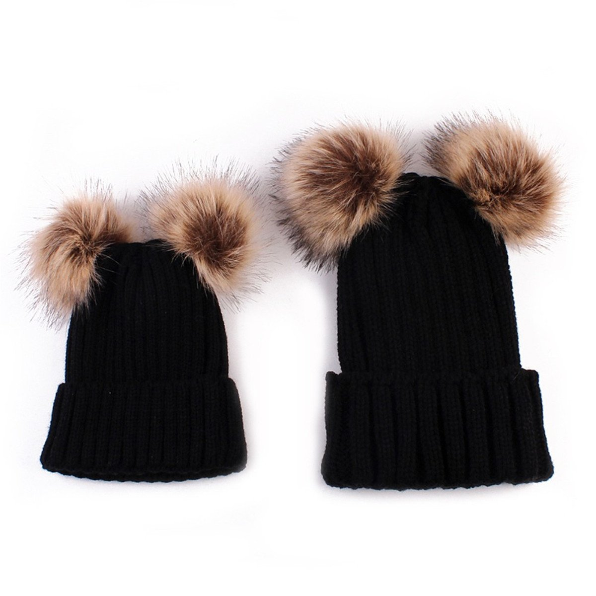 Family Matching Hat Winter Warm Cotton Knitting Beanie Double Pompom Hats,Black