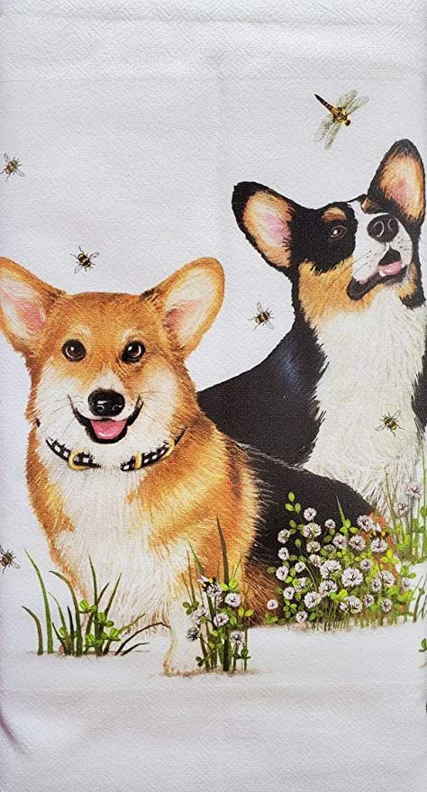 Decorative Corgi Pembroke Welsh Dog Floral Kitchen Dish Towel Pet Gift