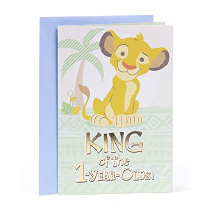Amazon Hallmark First Birthday Card For A Boy Lion King